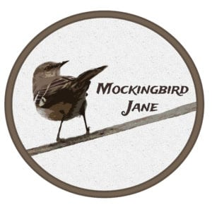 "Image of a bird looking over its shoulder with the words ""Mockingbird Jane"" behind it"