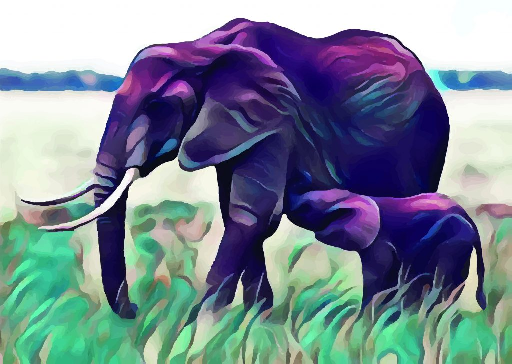 Stylized image in blues and greens of a baby elephant nuzzling her mama's side.