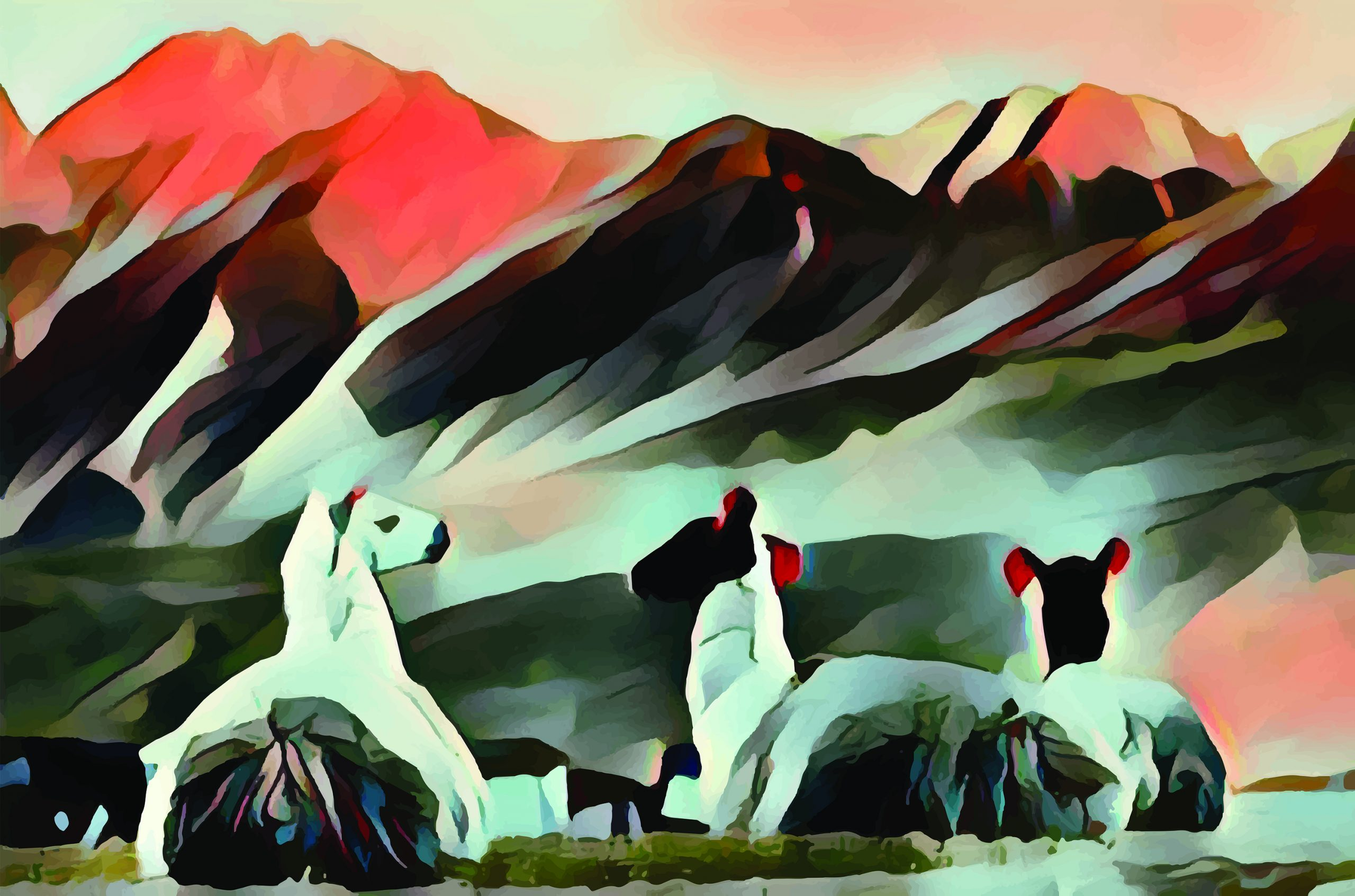 Stylized image in orange, black, and white of three llamas relaxing in front of mountains in the background.