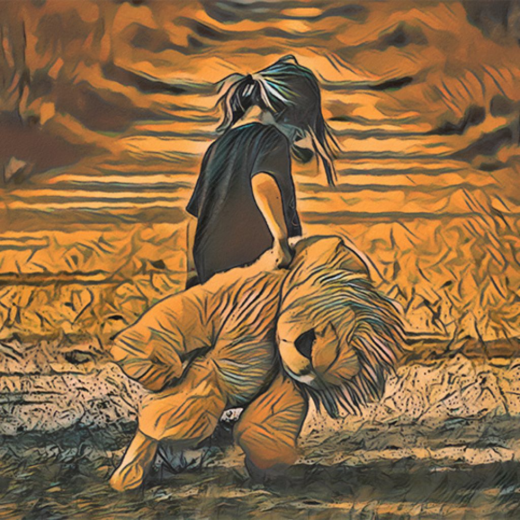 Stylized golden image of a small girl carrying a lion stuffed animal almost as big as she is walking away from the camera down a desolate road