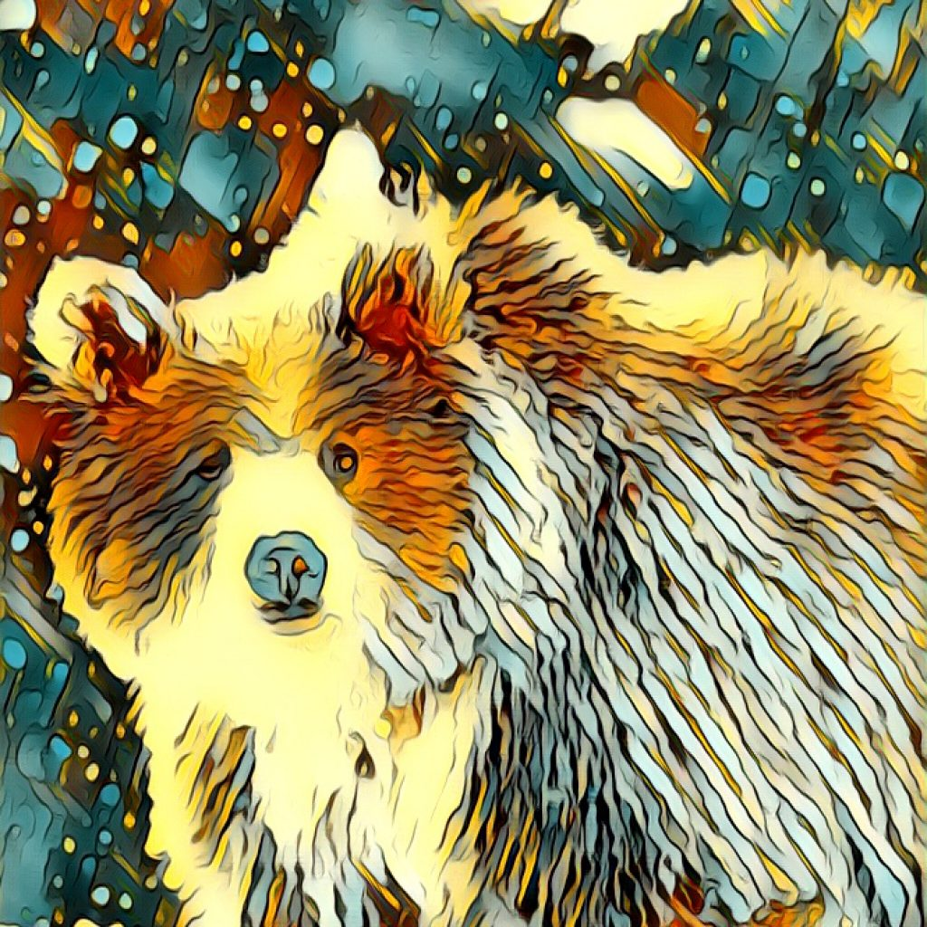 Stylized image of snow falling on a bear in yellow, brown, and blue