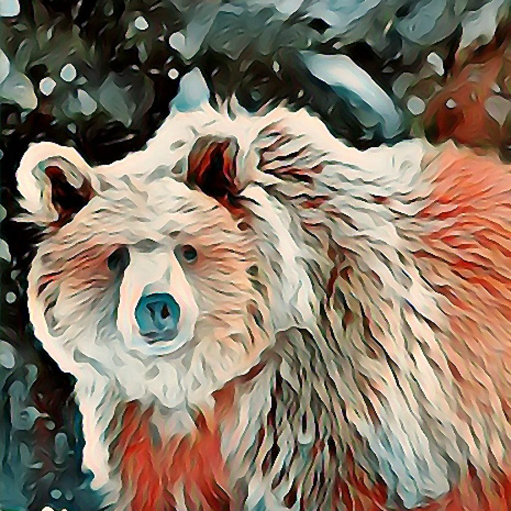 Stylized image of snow falling on a bear in reds, greens, and browns