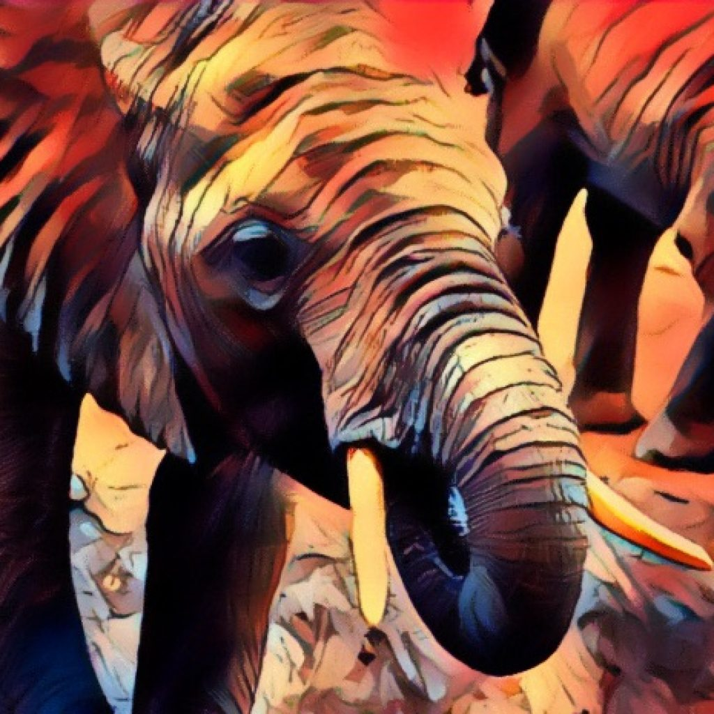 Stylized image of an elephant having a snack