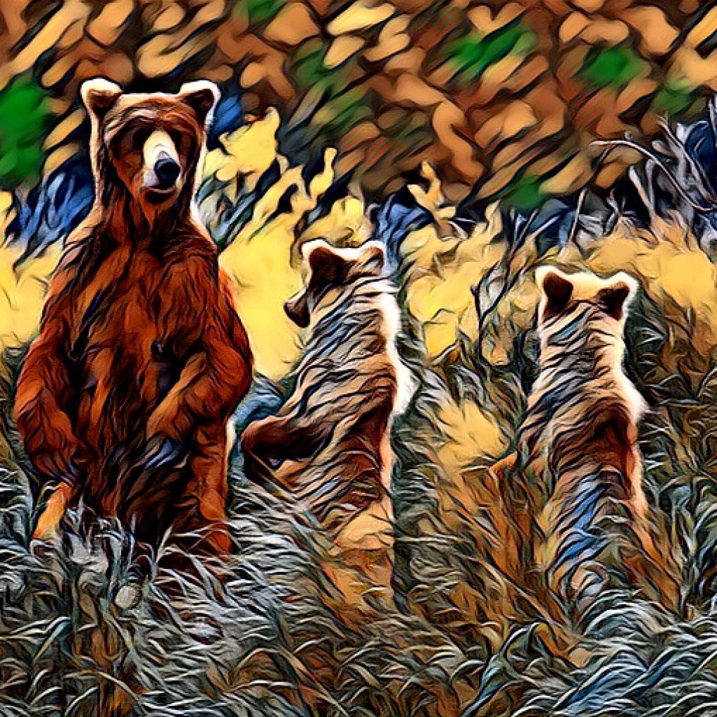 Stylized image of a family of three bears standing on hind legs in shades of green and brown