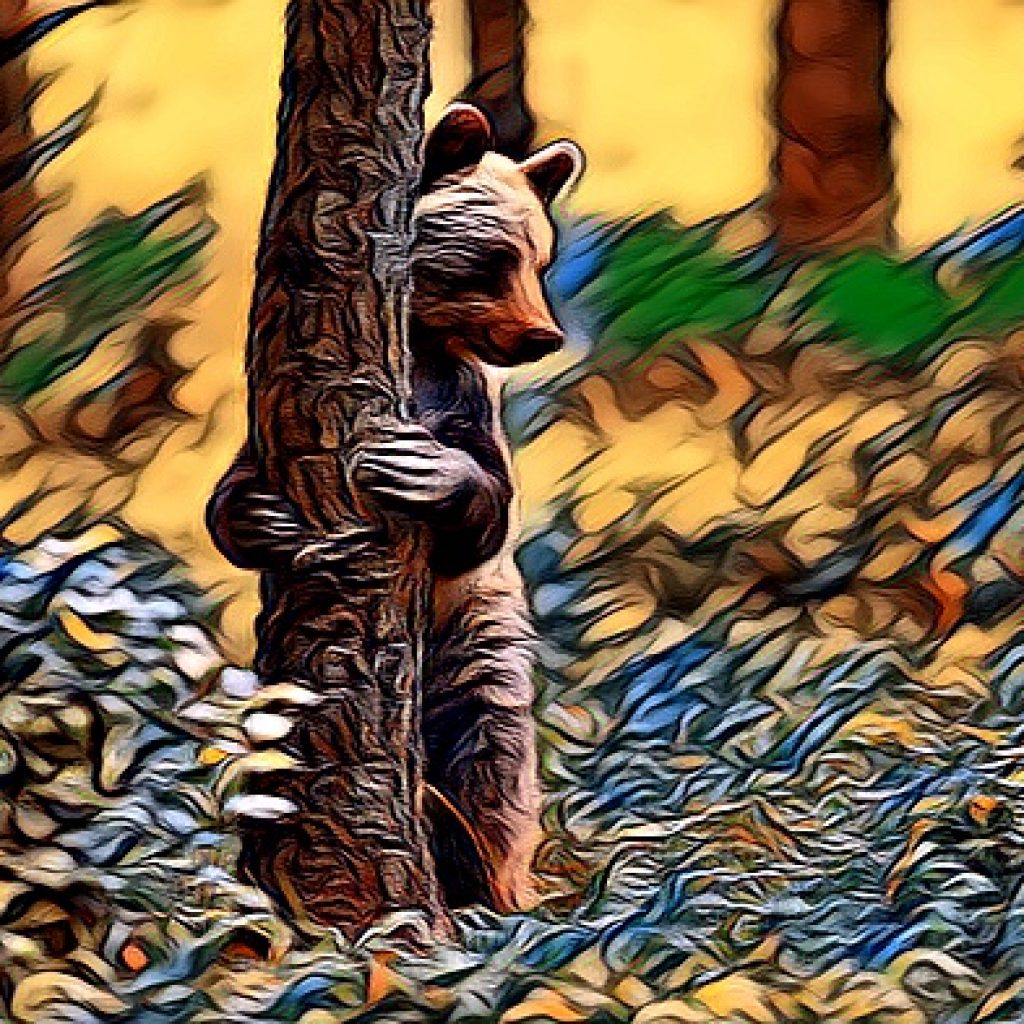 Stylized image of a bear standing on hind legs hugging the tree he's standing behind. in gold, brown, and green tones